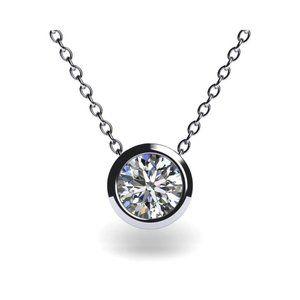 Jewelry - Brilliant Cut Solitaire Diamond Bezel Set Pendant